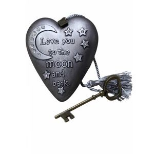 DEMDACO To the Moon Silver Tone 4 x 3 Heart Decor